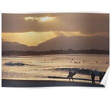 Looking west toward the mountains from Byron Bay Poster