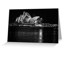 Opera House at Vivid Sydney B&W Greeting Card