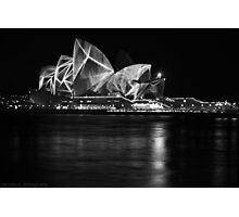 Opera House at Vivid Sydney B&W Photographic Print