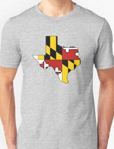 Texas outline Maryland flag Unisex T-Shirt