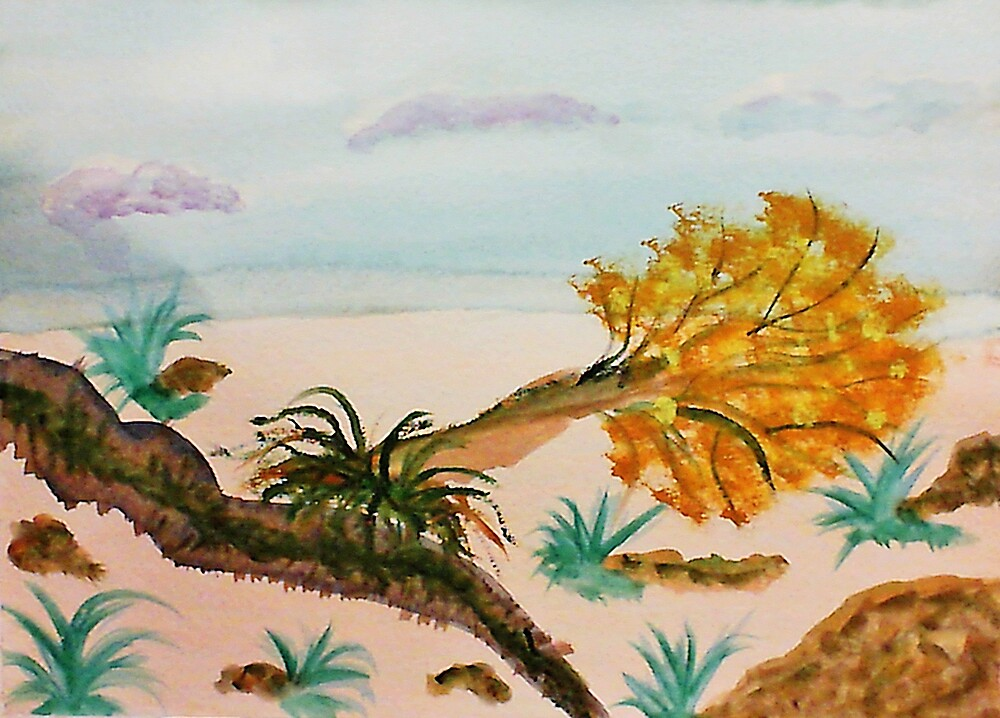 The day the Earth opened up! Watercolor by Anna  Lewis, blind artist