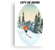 Let's Go Skiing - Banner Canvas Print