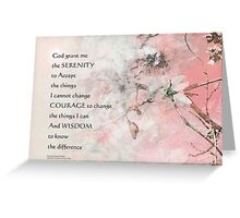 Serenity Prayer Almond Blossoms Pink Greeting Card