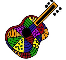 Awesome Colorful Folk Art Guitar Original by naturesfancy