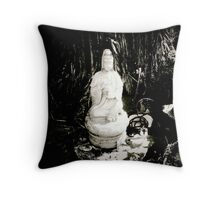 Jizo Shrine with bits and pieces Throw Pillow