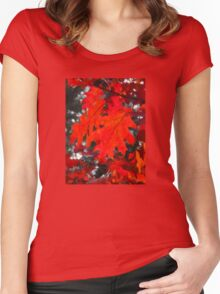 Stunning Red Maple Leaf Painting Women's Fitted Scoop T-Shirt