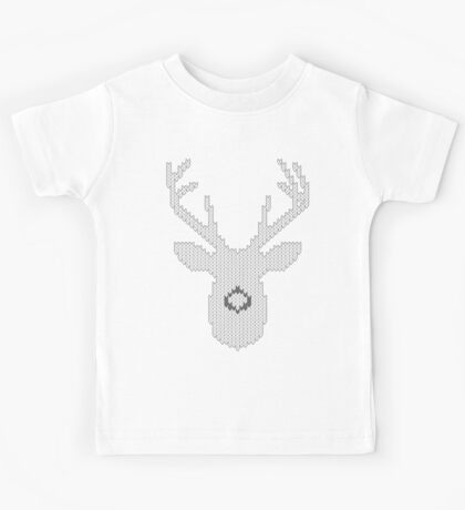 White Tail Buck in Knit Style Kids Tee