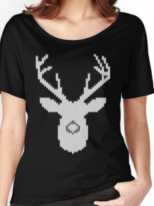 White Tail Buck in Knit Style Women's Relaxed Fit T-Shirt