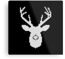 White Tail Buck in Knit Style Metal Print