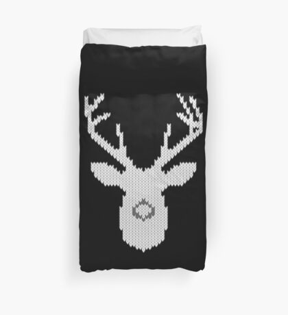 White Tail Buck in Knit Style Duvet Cover