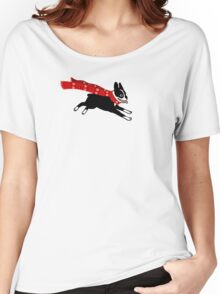 Holiday Boston Terrier Wearing Winter Scarf Women's Relaxed Fit T-Shirt