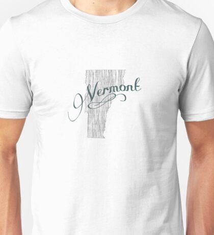 Vermont State Typography Unisex T-Shirt