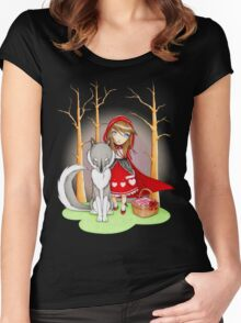 Red Riding Hood and Wolfie Women's Fitted Scoop T-Shirt