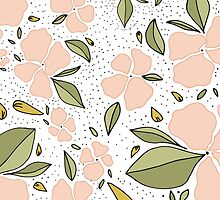 That floral and those dots / floral pattern / peach and green by allysonjohnson