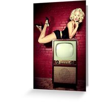 Blond on a TV Greeting Card