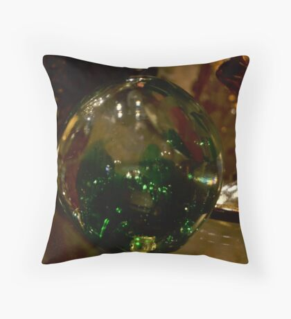 Green Swirl Throw Pillow