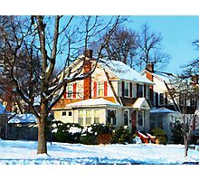 House Down the Street in Winter Photographic Print