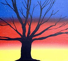 """Sunset Tree"" wall art Original print painting sunset rainbow decor wall art starry night tree of life by wrightsonarts"