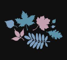 Pastel Leaves Pattern Kids Tee