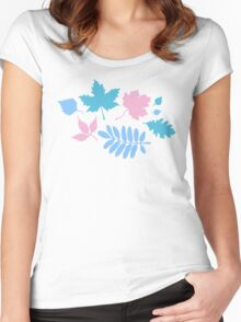 Pastel Leaves Pattern Women's Fitted Scoop T-Shirt