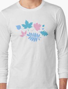Pastel Leaves Pattern Long Sleeve T-Shirt