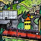 Train ride in the Alps by Monica Engeler