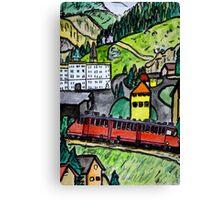 Train ride in the Alps Canvas Print