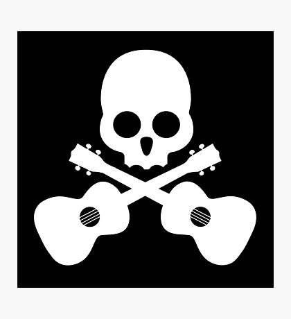 Old Skull Music Guitar Photographic Print