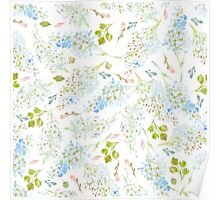 Classy Light Blue Floral Pattern Poster