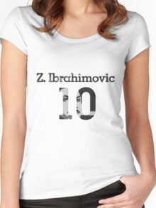 Zlatan Ibrahimovic 10 - Black & White Women's Fitted Scoop T-Shirt