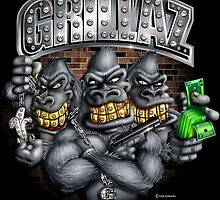 Grillaz (In Da Hood) Hip Hop Gangsta Gorillas by LinkArtworks