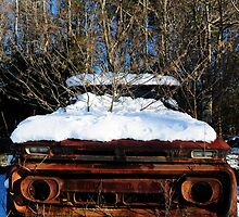 Abandoned truck in the snow by ashley hutchinson