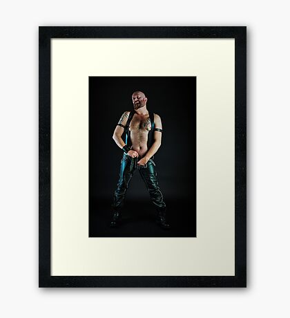 Troy- In Leathers Unzipped For You Framed Print