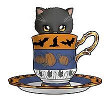 Kitten in a Tea Cup, Halloween Edition, Spoopy Black Cat with Pumpkins and Bats by ninniku