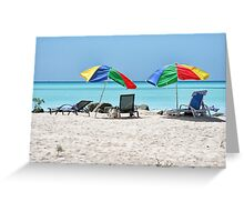 Beach, Beds & Bashed Brollies Greeting Card