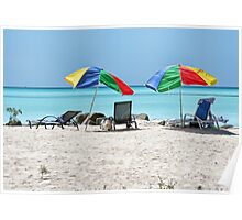 Beach, Beds & Bashed Brollies Poster