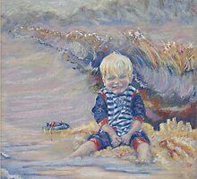 Harrison at the Beach by scallyart