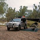 Campsite at Nindigully Hotel, Qld by Richard  Windeyer