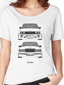 Mercedes-Benz 190E 2 3-16 vs E30 BMW M3 Women's Relaxed Fit T-Shirt