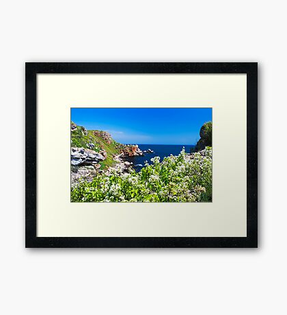 white spring on the coast Framed Print