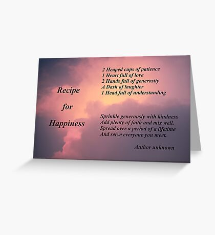 Recipe for Happiness Greeting Card