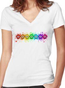 Splatterhouse - RAINBOW INK Women's Fitted V-Neck T-Shirt