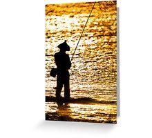 Fisherman on Golden Sea Greeting Card