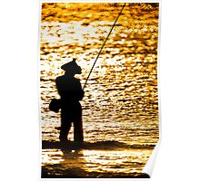 Fisherman on Golden Sea Poster