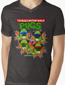 Teenage Mutant Ninja Pugs Mens V-Neck T-Shirt