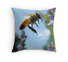 honeybee, mid air Throw Pillow