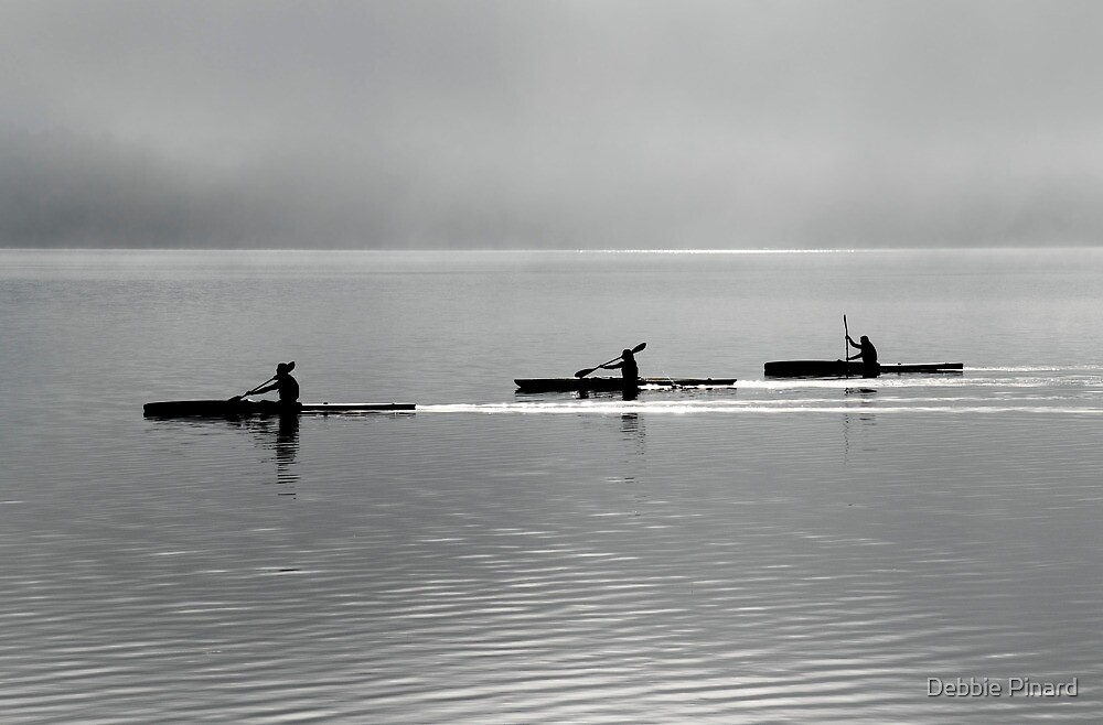 Kayakers in Black and White, Ottawa River, Dunrobin Ontario by Debbie Pinard