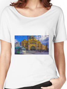 The Cyclist at Flinders Street Station Women's Relaxed Fit T-Shirt