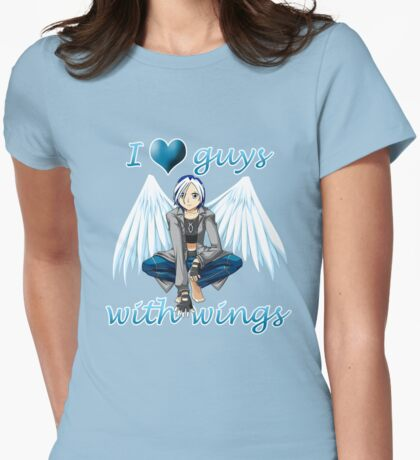 I <3 Guys With Wings - Angel Womens Fitted T-Shirt