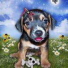 Punky Puppy & Her Plush Toy by Elizabeth Burton